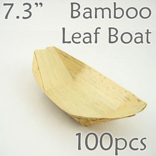 "Bamboo Leaf Boat 7.3"" -100 pc. -"