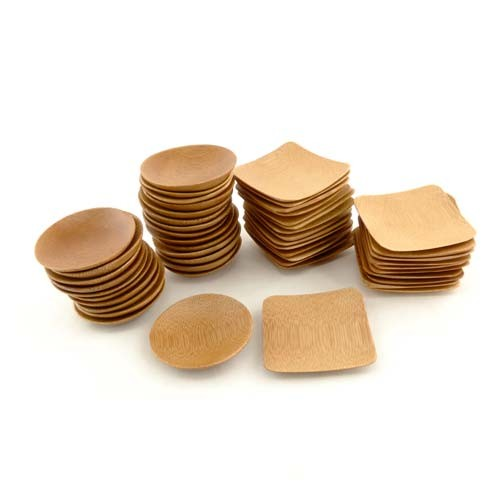 "Small Solid Bamboo Dishes 2 3/8"" (6cm X 6cm)"