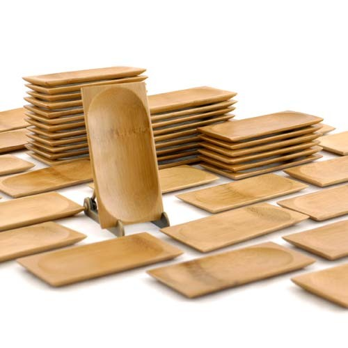 "Small Solid Bamboo Dishes  2.4"" X 4.7"" (6cm X 12cm)"