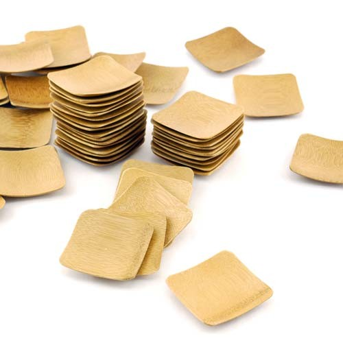 "Small Solid Bamboo Dishes 2 3/8"" (6cm X 6cm) Square 100pc"