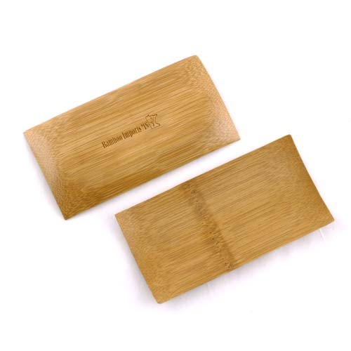 "Small Solid Bamboo Dishes 2.4"" X 4.7"" (6cm X 12cm) Sharp Edged Curved Bottom rectangle 100pc"