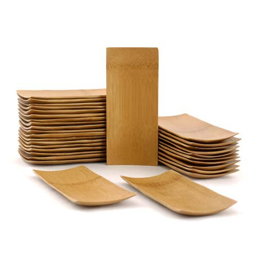 """Small Solid Bamboo Dishes 2.5"""" X 5 7/8"""" (6.5cm X 15cm) Sharp Edged Curved Bottom rectangle 20pc"""