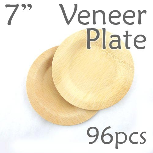 """Disposable Bamboo 7"""" Veneer Plate- Round- 96pc"""