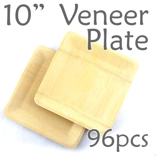 "Disposable Bamboo 10"" Veneer Plate- Square- 96pc"
