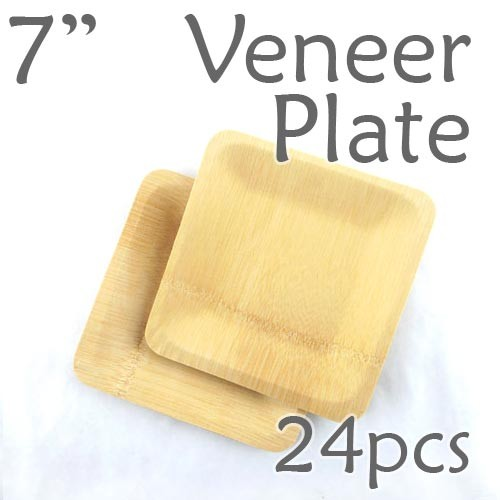 "Disposable Bamboo 7"" Veneer Plate- Square- 24pc"