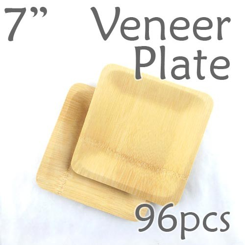 """Disposable Bamboo 7"""" Veneer Plate- Square- 96pc"""