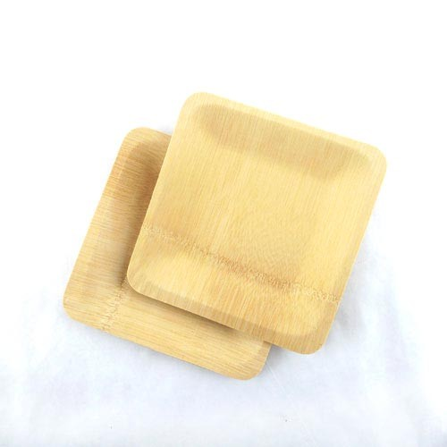"""Disposable Bamboo 9"""" Veneer Plate- Square- 96pc"""