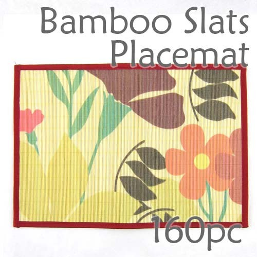 Bamboo Placemat - Red Floral Imprint - 160pc