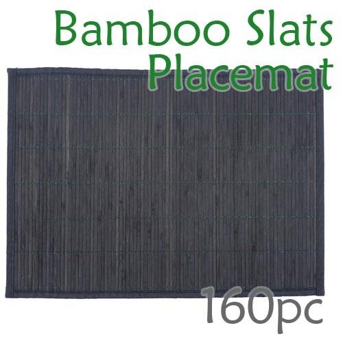 Bamboo Slats Placemat - Black - 160pc