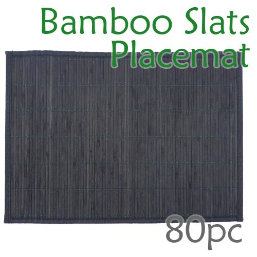 Bamboo Slats Placemat - Black - 80pc