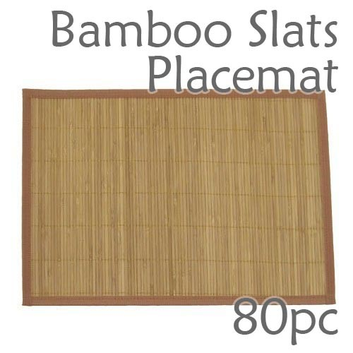 Bamboo Slats Placemat - Brown - 80pc