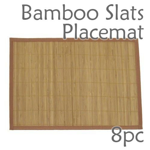 Bamboo Slats Placemat - Brown - 8pc