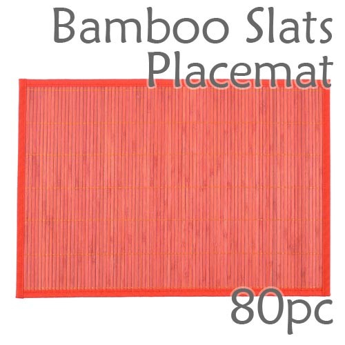 Bamboo Slats Placemat - Red - 80pc