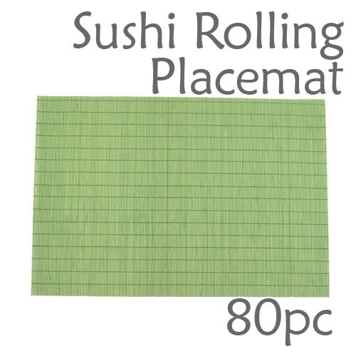 Bamboo Placemat / Sushi Rolling Style - Green - 80pc