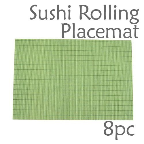 Bamboo Placemat / Sushi Rolling Style - Green - 8pc