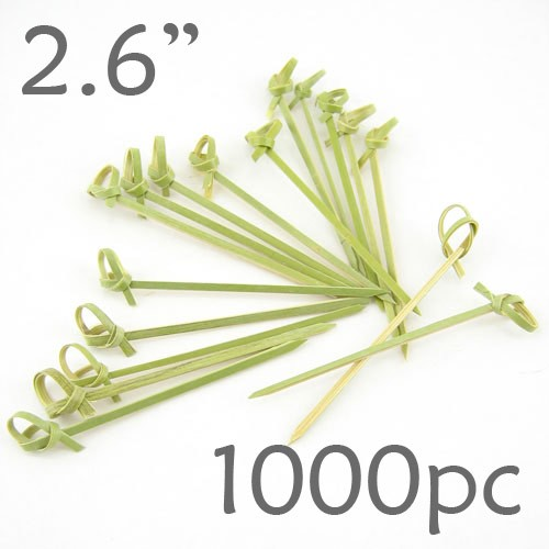 Bamboo Knot Picks 2.6 - Green - box of 1000 Pieces