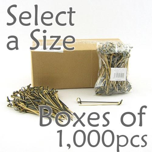 Bamboo Knot Picks - Black - Box of 1000 pcs (Select a Size)