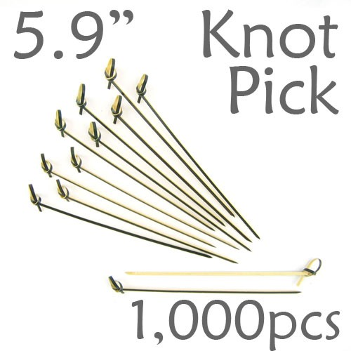 Bamboo Knot Picks 5.9 - Black - box of 1000 Pieces