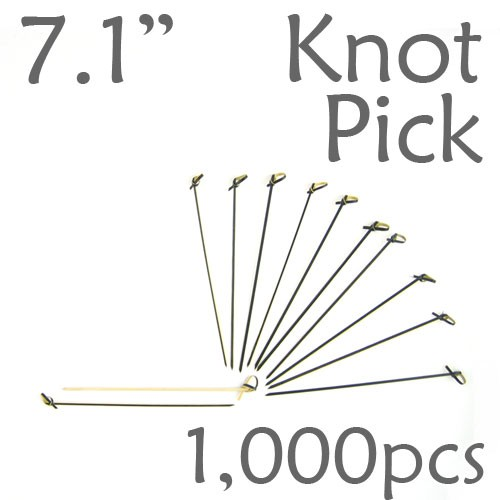 Bamboo Knot Picks 7.1 - Black - box of 1000 Pieces