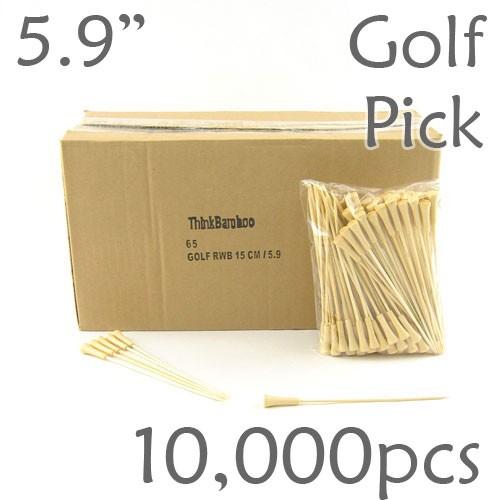 Golf Tee Picks 5.9 Long - Natural - Case of 10,000 pc