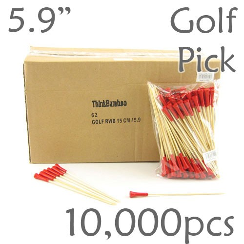 Golf Tee Picks 5.9 Long - Red - Case of 10,000 pc