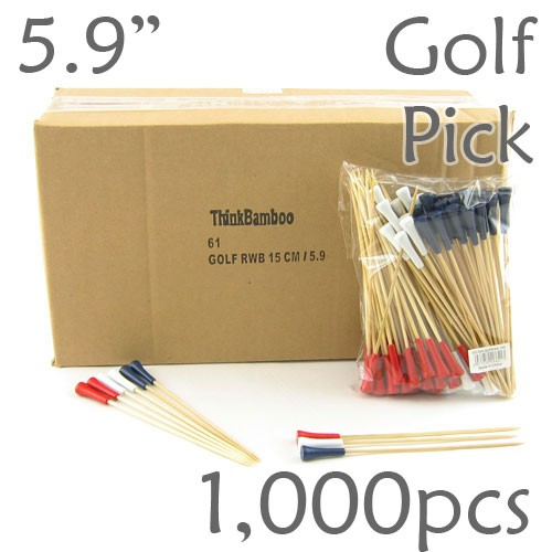 Golf Tee Picks 5.9 Long - Red, White, Blue Assortment - Box of 1000 pc