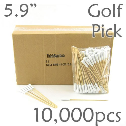 Golf Tee Picks 5.9 Long - White - Case of 10,000 pc