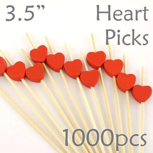 Heart Picks - 3.5 - Box of 1000 pc
