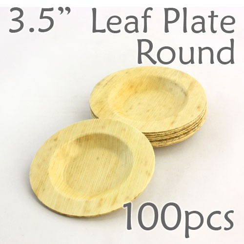 "Bamboo Leaf Round Plate 3.5"" -100 pc."