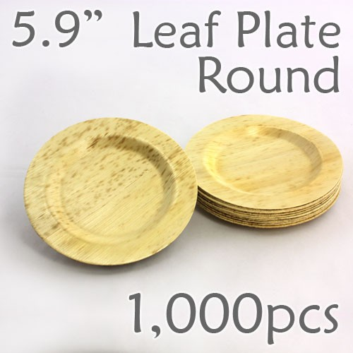 "Bamboo Leaf Round Plate 5.9"" -1000 pc."