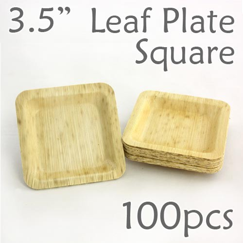 "Bamboo Leaf Square Plate 3.5"" -100 pc."