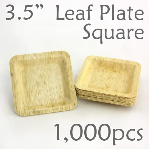 "Bamboo Leaf Square Plate 3.5"" -1000 pc."