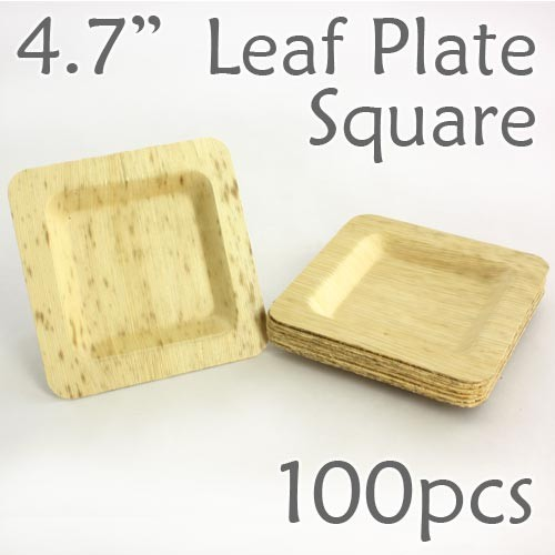 "Bamboo Leaf Square Plate 4.7"" -100 pc."