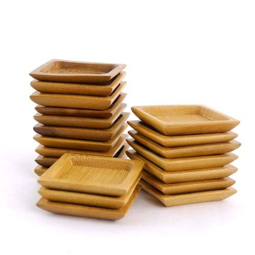 "Small Solid Bamboo Dishes 2 3/8"" (6cm X 6cm) Deep Square 20pc"