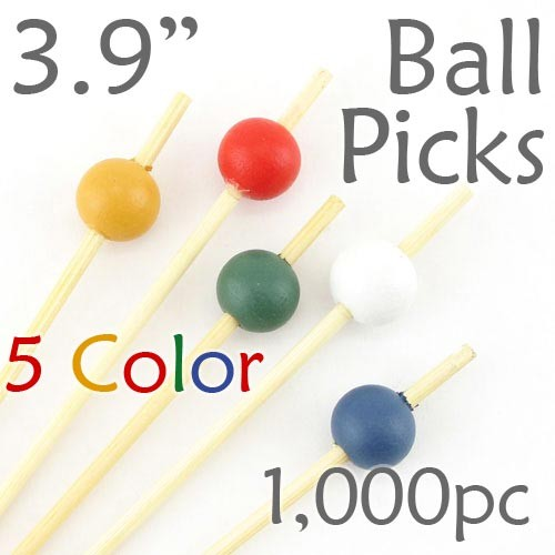 Ball Picks  3.9 Long - 5 Color Assortment - Box of 1000 pc