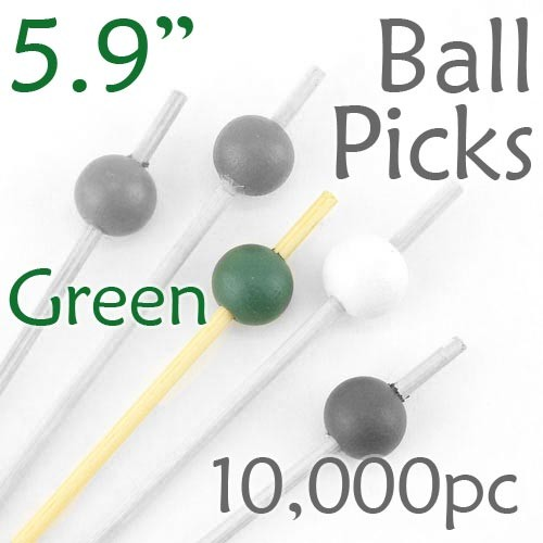 Ball Picks  5.9 Long - Green - Case of 10,000 pc