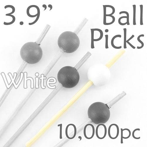 Ball Picks  3.9 Long - White - Case of 10,000 pc