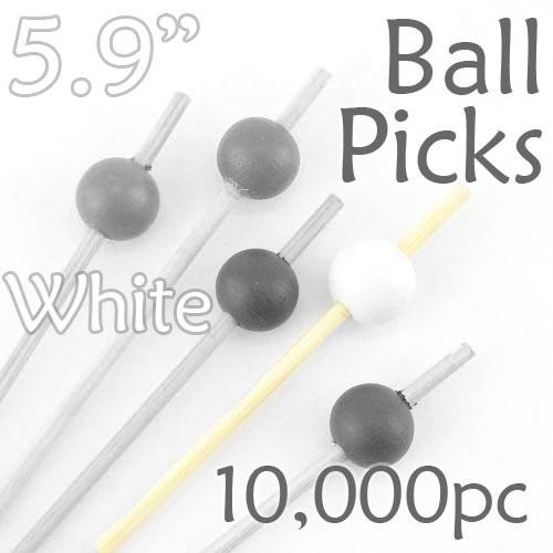 Ball Picks  5.9 Long - White - Case of 10,000 pc