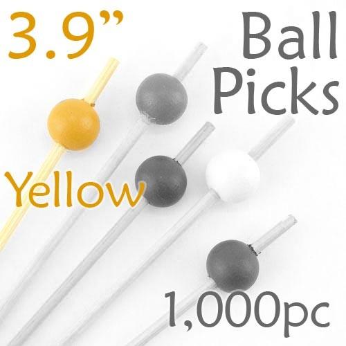 Ball Picks  3.9 Long - Yellow - Box of 1000 pc