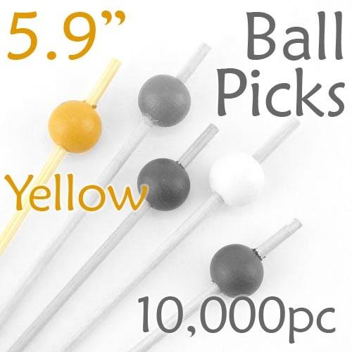 Ball Picks  5.9 Long - Yellow - Case of 10,000 pc