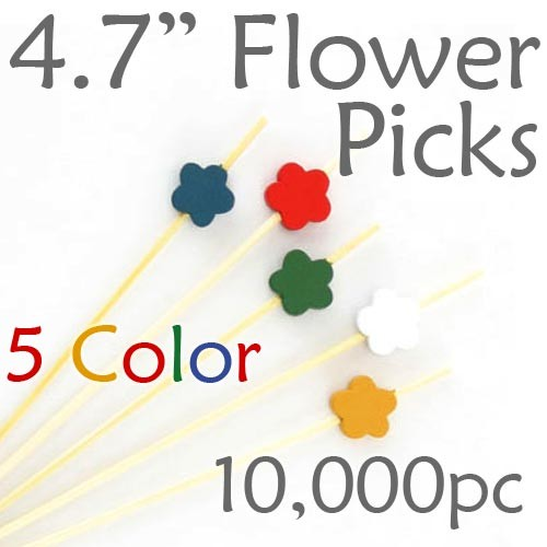 Flower Picks  4.7 Long - 5 Color Assortment - Case of 10,000 pc