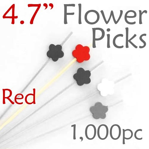 Flower Picks  4.7 Long - Red - Box of 1000 pc