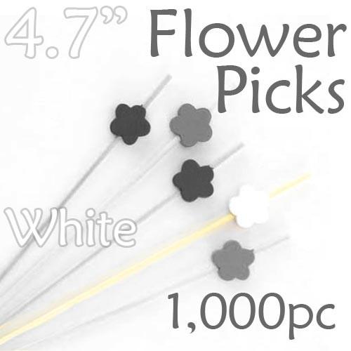 Flower Picks  4.7 Long - White - Box of 1000 pc