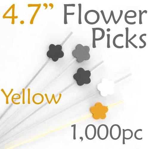 Flower Picks  4.7 Long - Yellow - Box of 1000 pc