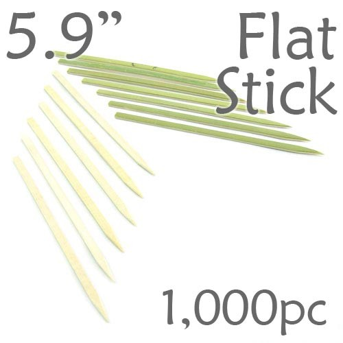 Bamboo Flat Stick Skewers 5.9 - Green - box of 1000 Pieces