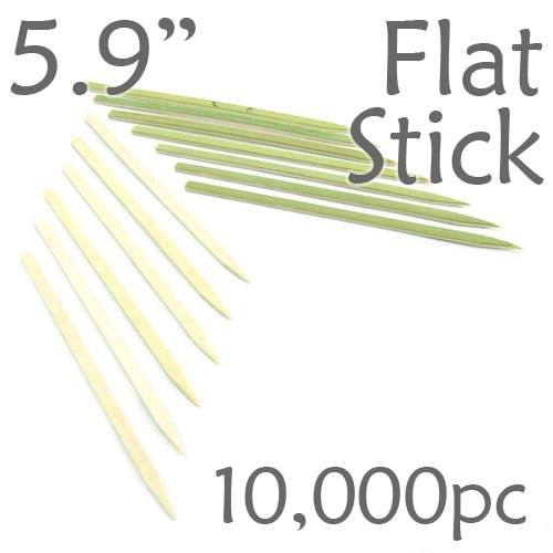 Bamboo Flat Stick Skewers 5.9 - Green - Case of 10,000 Pieces