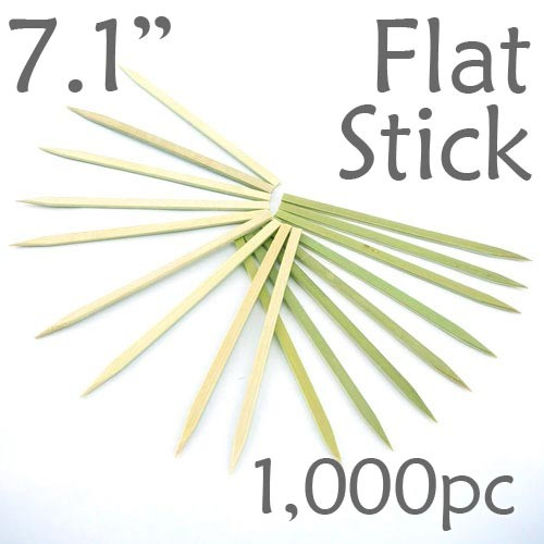 Bamboo Flat Stick Skewers 7.1 - Green - box of 1000 Pieces