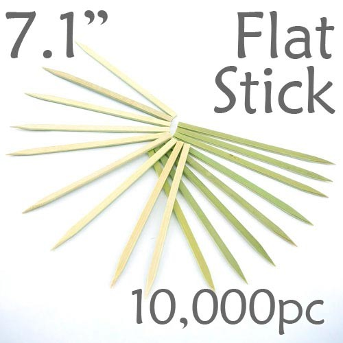 Bamboo Flat Stick Skewers 7.1 - Green - Case of 10,000 Pieces