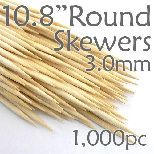 Bamboo Round Skewer 10.8 Long 3.0mm dia. Box of 1000