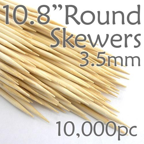 Bamboo Round Skewer 10.8 Long 3.5mm dia. Case of  of 10,000